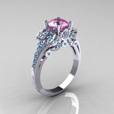 Classic 14K White Gold 1.0 CT Light Pink Sapphire Aquamarine Blazer Wedding Ring R203-14KWGAQLPS