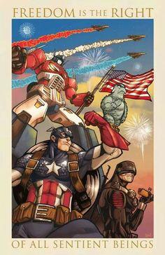 Freedom - Optimus Prime, Captain America, Snake Eyes