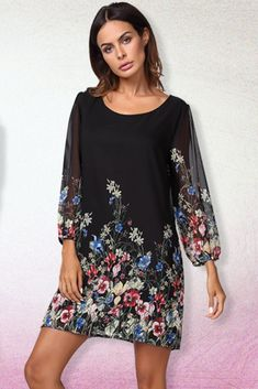 Sleeve, elastic cuff Floral Pattern, soft chiffon material,with lining Loose fit Trendy Dresses, Sexy Dresses, Summer Dresses, Chiffon Material, Crochet Woman, Home Outfit, Nightwear, Loose Fit, Wedding Styles