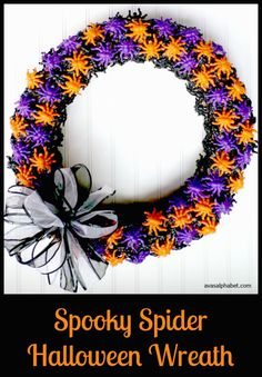 halloween wreaths H is for Holidays: Spooky Spider Halloween Wreath - Make this fun & frightful wreath using simple craft supplies and a whole lot of plastic jumping spiders! Halloween Spider, Fall Halloween, Happy Halloween, Vintage Halloween, Halloween Party, Halloween Costumes, Fall Crafts, Holiday Crafts, Halloween Decorations
