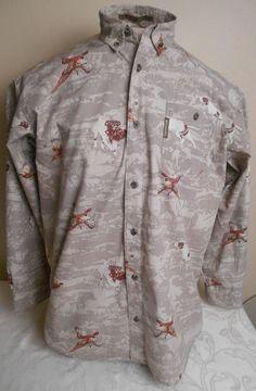 COLUMBIA Men's Size L Large Pheasant River Lodge Hunting Button-Front Shirt
