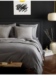 Dark & Dramatic Grey Bedroom with our Relaxed Denim Graphite Grey Bed Linen