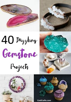 40 Dazzling DIY Gemstone Projects Love crystals and gemstones? Here is a super list of 40 DIY gemstone craft project ideas that will help inspire your creativity. Diy Craft Projects, Fun Diy Crafts, Crafts To Sell, Crafts For Kids, Projects To Try, Arts And Crafts, Project Ideas, Craft Ideas, Diy Ideas