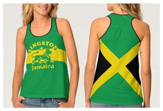 Kingston Jamaica women's all over print tank top, with rasta lion emblem on the front and the Jamaican flag on the back.