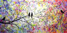 Large Contemporary Bird Painting Love Birds Tree Painting Modern Abstract Romance Silouette 24x48 JMichael