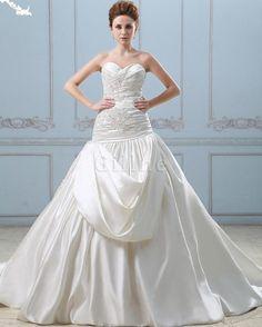 Halle Meerjungfrau Herz-Ausschnitt Reißverschluss Brautkleid mit Perlen