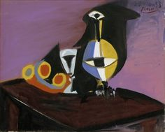 """Pablo Picasso """"Fruit, Carafe and Glass"""" 1938 (Detroit Institute Of the Arts) Pablo Picasso, Picasso Cubism, Picasso Paintings, Bombing Of Guernica, Synthetic Cubism, Chaim Soutine, Cubist Movement, Spanish Painters, Creative Icon"""