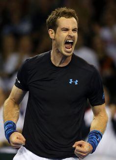 Andy Murray Photos - Andy Murray of The Aegon GB Davis Cup Team celebrates match point against Donald Young of the United States during Day 1 of the Davis Cup match between GB and USA at Emirates Arena on March 2015 in Glasgow, Scotland. - GB v USA Tennis Wallpaper, Davis Cup, British Sports, Sports Personality, Andy Murray, Sport Photography, Sports Stars, Tennis Players, Wimbledon