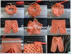 Escorzo Tricroche: pantalones de ganchillo bebé con una sola plaza octogonal - PAP