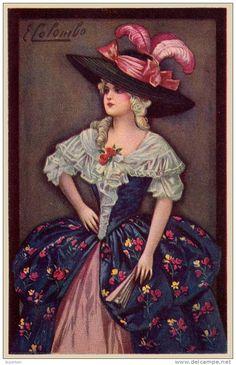 ART DÉCO : JEUNE FEMME avec CHAPEAU à PLUMES et ÉVENTAIL - ILLUSTRATION SIGNÉE: E. COLOMBO - ANNÉE: ENV. 1920 (i-007)