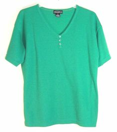 e0297e24fbe Women's Solid Green V Neck Top Size Large One Step Up Short Sleeve Soft  Material #
