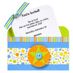 Create A Pocket-Style Party Invitation  Design by Valerie Salmon  Valerie made a fun pocket invitation using a tag and a purchased card. She simply trimmed patterned paper strips to fit the card front, and added a striped ribbon for a jolt of color.  Editor's Tip: Make a three-dimensional accent by layering a die cut and a button, then attach the pieces to the card front with adhesive foam.