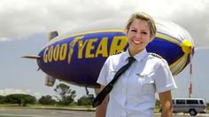 """One of 3 female blimp pilots in the world.  Taylor Laverty flies the airship """"Spirit of America"""" for Goodyear."""