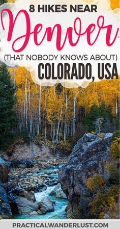 Crowded trails suck. Luckily, there are a lot of beautiful hiking trails near Denver, Colorado that are totally undiscovered! Avoid the crowds and head to these hidden gem hiking trails near Denver. Hiking near Denver | Colorado hiking trails | USA Travel Destinations | Things to do in Colorado | Things to do in Denver | Day trips from Denver | #Denver #Colorado #Hiking #TravelDestinationsUsaColorado #TravelDestinationsUsaWest