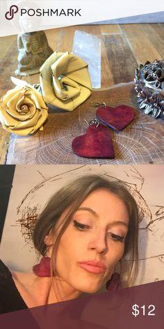 Colombian Amazon Handmade Coconut Shell Hearts Colombian Amazon Handmade Coconut Shell Hearts. Colombia Jewelry Earrings