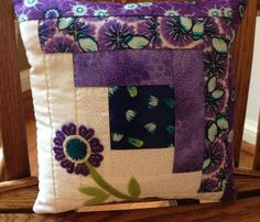 Kit Log Cabin quilt block with wool by MomAndIDesigns on Etsy