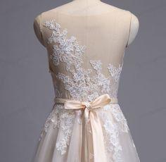 Lace Wedding Dress 100% Handmade Mesh Tulle Wedding by loveinprom