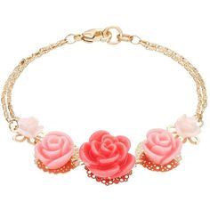 LC Lauren Conrad Pink Graduated Flower Double Strand Bracelet (218.450 VND) ❤ liked on Polyvore featuring jewelry, bracelets, pink, graduation jewelry, pink gold jewelry, gold jewelry, pink jewelry and yellow gold jewelry