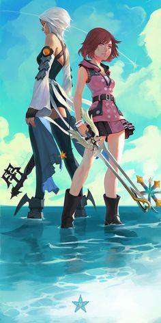 Kingdom Hearts Aqua and Kairi Kingdom Hearts Games, Kingdom Hearts Fanart, Kingdom Hearts 3 Kairi, Terra Kingdom Hearts, Kingdom Hearts Characters, One Punch Man, Final Fantasy, Video Game Art, Video Games