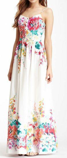 Thin strap floral long maxi dress