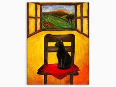 Original Painting, Cat Painting, Cat Art, Country Painting, Italian Painting, Tuscany Painting, Acrylic Cat Art, Tuscany Painting, Black Cat - pinned by pin4etsy.com