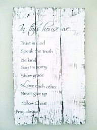 Rustic Vintage Shabby Chic Salvaged Hand painted Crate Wood Sign Wedding Home decor Love Winter Christmas  House Rules