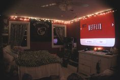 bedroom with projector (awesome idea for watching Netflix!)