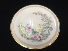 """Lenox Flower Song Bone China Floral Gold Trim Salad Plate, Made in USA, 8"""" Dia #Lenox"""