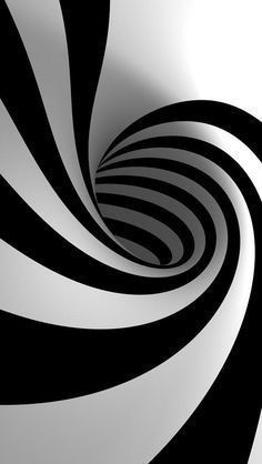 Abstract Black and White Stripes Illusion Drawings, 3d Drawings, Illusion Art, Black White Stripes, Black And White, Fractal, Op Art, Geometric Art, Optical Illusions