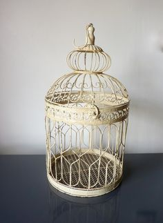 Decorative Vintage French Country Shabby Chic Birdcage- would be cute to make this into a light hanging from the ceiling