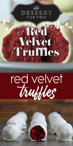 Red velvet truffles are so easy to make with a small red velvet cake and the cream cheese frosting on the inside. A quick dunk in white chocolate makes them festive for Christmas cookies or holiday cookie parties. for two Red Velvet Truffles Fun Baking Recipes, Sweet Recipes, Dessert Recipes, Cooking Recipes, Hard Candy Recipes, Cupcake Recipes, Christmas Desserts, Christmas Baking, Christmas Cookies