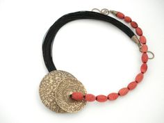 Unique Handmade Statement Necklace-Gold Bronze Hammered-Wax Linen Cord-Red Sponge High Quality Coral Beads-Contemporary Necklace by AnnaRecycle on Etsy