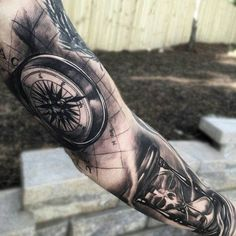 Compass and hourglass full sleeve tattoo for man - 100 Awesome Compass Tattoo Designs  <3 <3