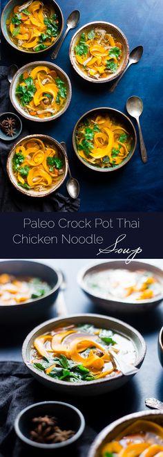 Paleo Thai Crock Pot Chicken Noodle Soup - A Thai twist on the classic with butternut squash noodles so it's gluten free, whole30 complaint, under 300 calories and 3 SmartPoints! A low-carb option is included! | Foodfaithfitness.com | @FoodFaithFit