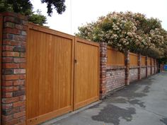 horizontal fence panels with brick posts - Google Search