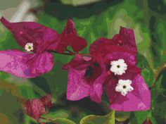 Pink Bougainvilleas Flower I Cross Stitch by Avalon Cross Stitch on Etsy