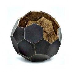Regina Andrew Design Polyhedron Vase (Large) - Black and Gold