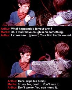 """""""Arthur is so tender and sweet with Merlin in this scene. It's adorable."""" What I was really amused by was, they could have totally used Merlin's neckerchief, but I much prefer what they did use.<<< Umm did you heard about """"the passion of the cut sleeve""""? Merlin Show, Merlin Fandom, Merlin Cast, Merlin Memes, Merlin Funny, Merlin Quotes, Sherlock Quotes, Johnlock, Destiel"""