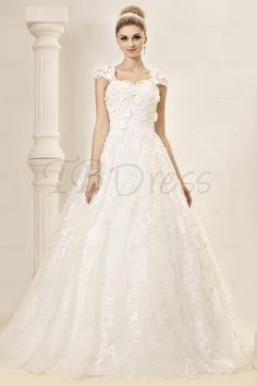 Stunning A-line/Princess Capped-Sleeves Floor-length Court Lace Dasha's Wedding Dress