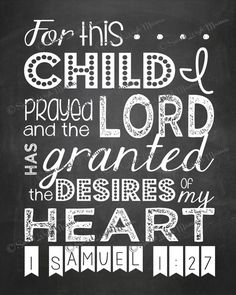 For This Child I Prayed  1 Samuel 1:27  8x10 by sweetleighmama, $9.99