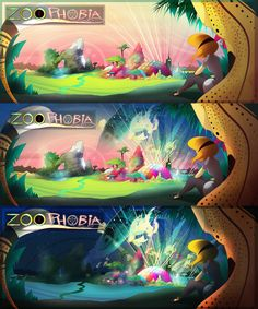Separate frames of the 2016 Zoophobia splash image! #zoophobia #vivzmind