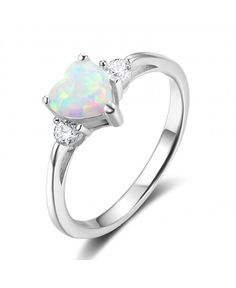 26e967ee7ab6d2 925 Sterling Silver Heart Shaped White Opal Engagement Promise Band Ring -  white Opal Wedding Rings