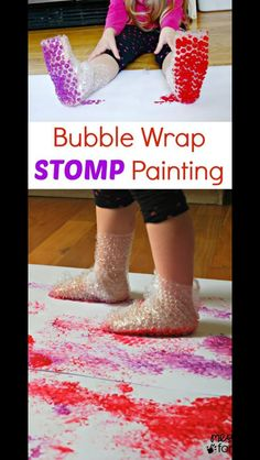 Bubble wrap feet painting - looks fun but maybe outside in the summer!