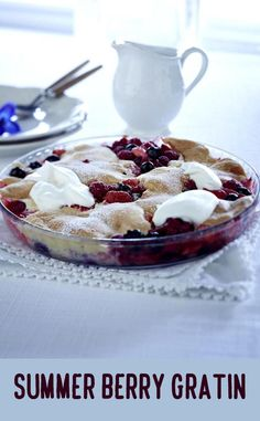 Good Food, Yummy Food, Summer Berries, Whipped Cream, Berry, Panna Cotta, Easy Meals, Pudding, Treats