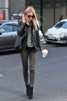 Black leather jacket _ skinny ripped grey jeans + black and white striped top + black booties