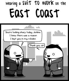 The Oatmeal's take on wearing a suit to work (east coast vs west coast)