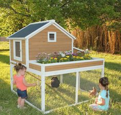 The Garden Girl's Chicken Coop is a unique chicken coop design - there is a raised bed garden area on this coop, providing you a controlled space to grow flowers and or vegetables!