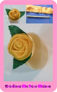 Yellow burlap rose - Créations Ma Déco Maison - Sylvie Créative