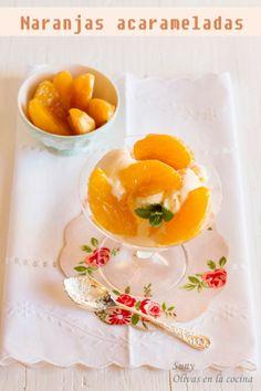 Deliciosas naranjas acarameladas acompañadas de un helado de vainilla. Fondant, Cupcakes, Kitchenaid, Panna Cotta, Ethnic Recipes, Food, Puddings, Vanilla Ice Cream, Dessert Recipes