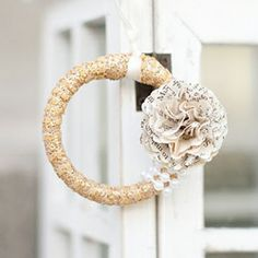 A fun and easy DIY on how to make a lovely Christmas ornament out of a shower curtain ring!